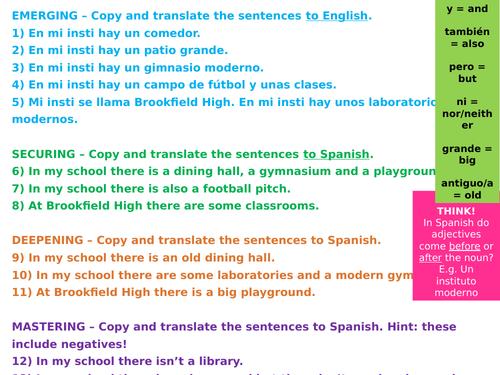SPANISH KS3 TRANSLATION EXERCISES WITH ANSWERS - Mi insti