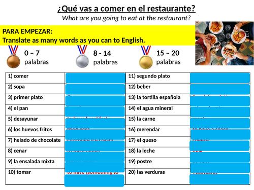 SPANISH KS3 FULL LESSON WITH ANSWERS - ¿Qué vas a comer en el restaurante?