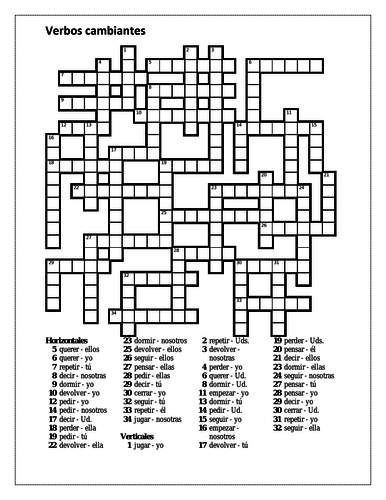 Stem Changing Verbs in Spanish Crossword