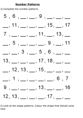 YEAR 1 OR 2 NUMBER SEQUENCES AND PATTERNS