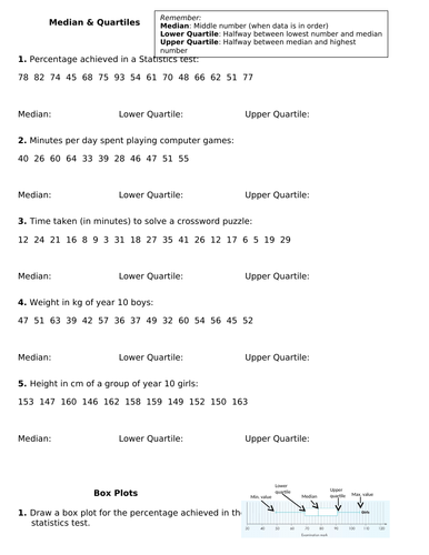 GCSE MATHS BOX PLOTS. FIND AVERAGES. PLOT ON GRAPHS. COMPARE. ANSWER PAGES.
