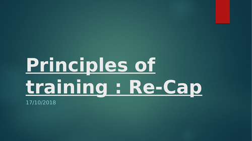 Principles of training revision