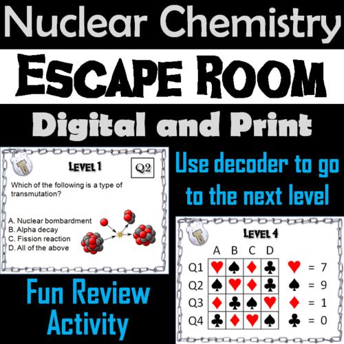 Half-Life Problems: Physics Escape Room Chemistry