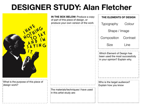 Graphic Art & Design Research Worksheets / Homework / Starter
