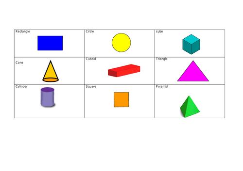 2D 3D Shapes Bingo SEND SLD