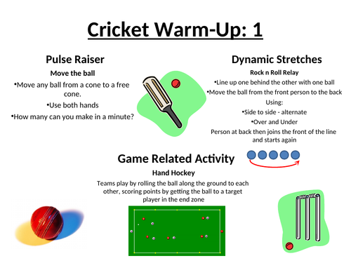 Cricket Warm Up Cards