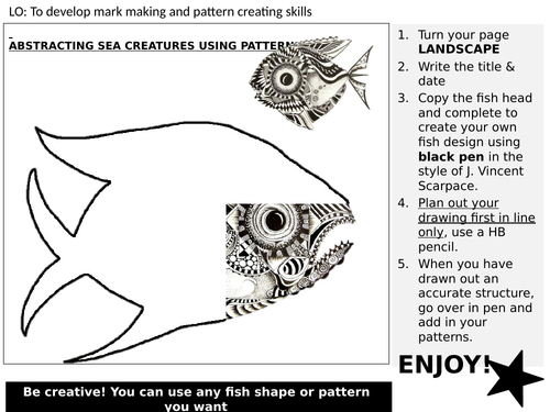 Cover lesson task - Pattern fish drawing