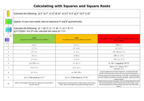 Calculating with Powers and Roots Worksheet