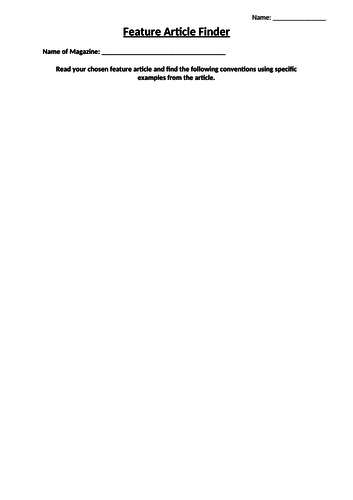 Feature Article Research Worksheet