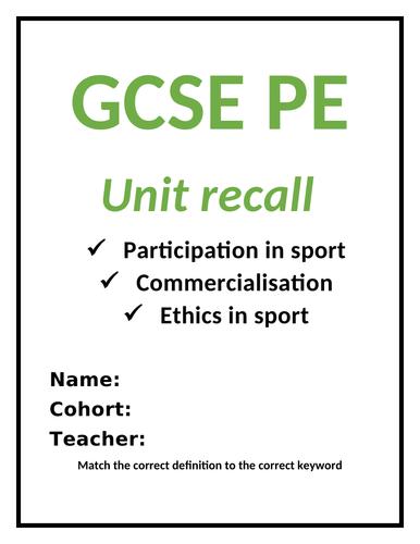 GCSE PE revision/homework booklet