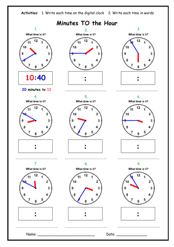 Telling the Time - Minutes TO the Hour