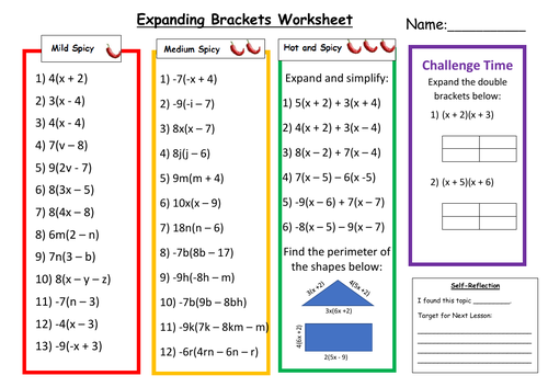 Expanding Brackets Differentiated Worksheet with Answers