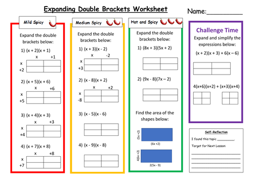 Expanding Double Brackets Differentiated Worksheet with Answers
