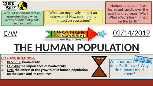KS4 New GCSE (9-1) - The Human Population Explosion (AQA B18.1 Biodiversity and Ecosystems)