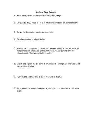 Acids and bases Questions