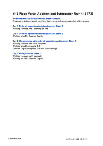 Use brackets and order of operations - Practice Worksheets & Answers - Year 6