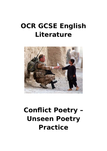 OCR Conflict Poetry - Unseen Analysis Revision Pack