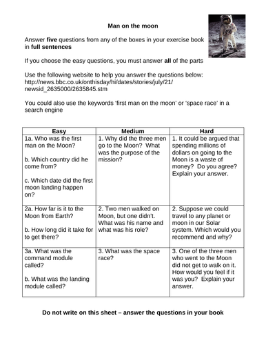 KS3 research homework on the moon landings - differentiated on 3 levels, with mark scheme