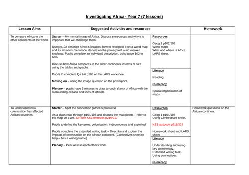 Africa full scheme of work Year 7