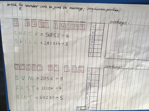 Division practise for break the code puzzle