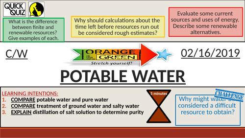 KS4 New GCSE (9-1) - Potable Water (AQA C14.2 The Earth's Resources)