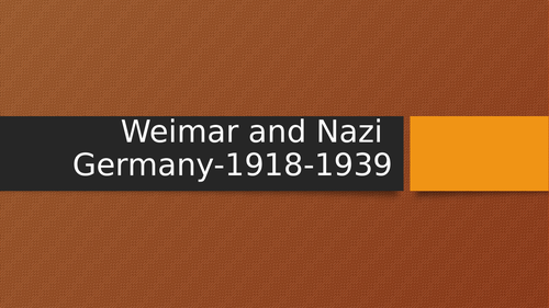 Weimar and Nazi Germany GCSE Revision