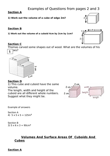 VOLUMES OF CUBES AND CUBOIDS KS2/KS3. WORD AND PDF FILES. EXAMPLE Q ON 1ST PAGE. ANSWERS PAGE 4.