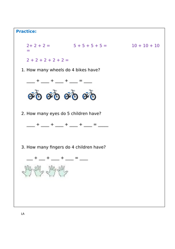 Multiplication as repeated addition KS1
