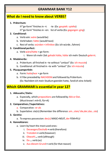 Grammar bank with core content for German written examinations