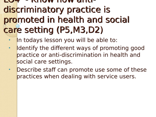 Unit 2 - Equality, diversity and rights- 2010 specification - LO4