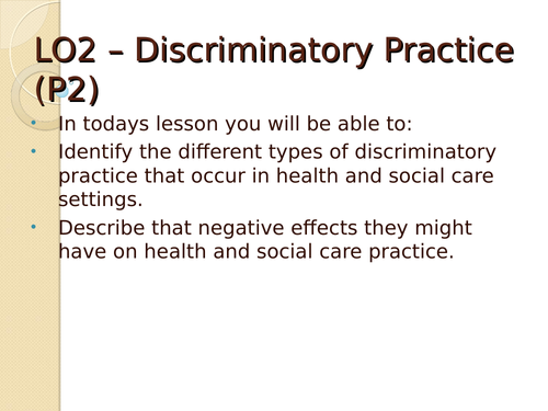 Unit 2 - Equality, diversity and rights -2010 specfication - LO2