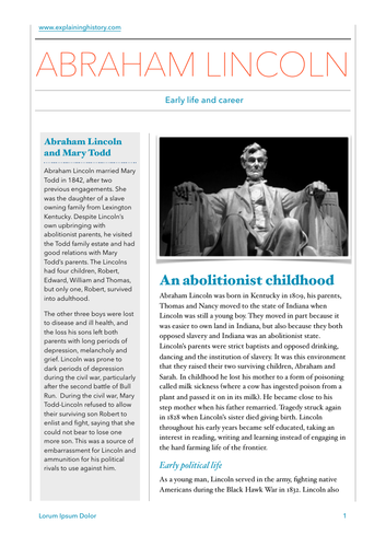 Abraham Lincoln: Early Life and Career Study Guide