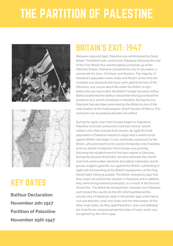 Super Simple Fact File: The Partition of Palestine 1947
