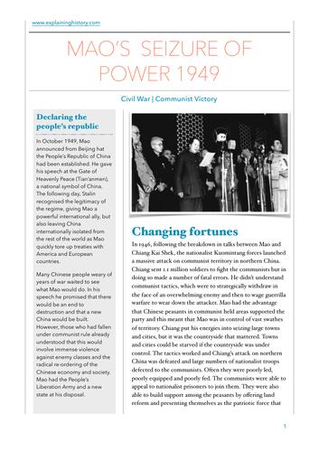 Mao's seizure of power 1949 study guide