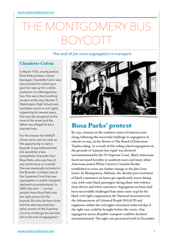 The Montgomery Bus Boycott Study Guide