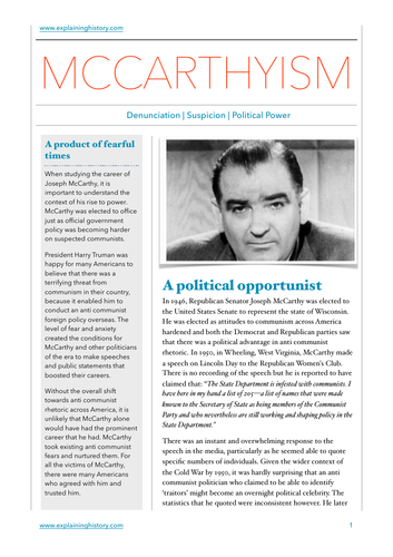 McCarthyism Study Guide