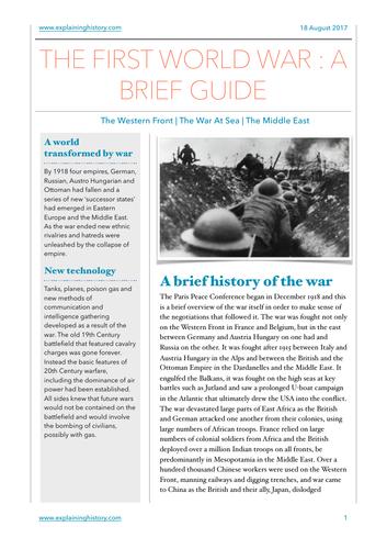 The First World War: A Brief Guide