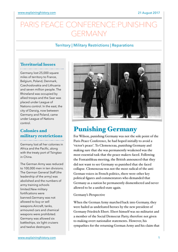 The Punishment of Germany 1919 Study Guide