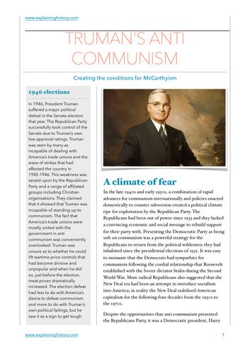 Truman's Anti Communism Study Guide