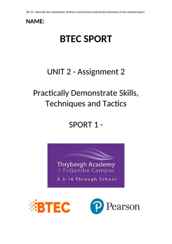 BTEC SPORT UNIT 2 Assignment 2 Template (Practical Sport)