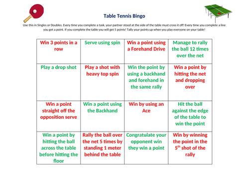 Table Tennis Bingo
