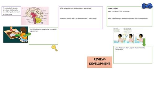 AQA GCSE Psychology- Development revision- A3 sheets x 3 sides