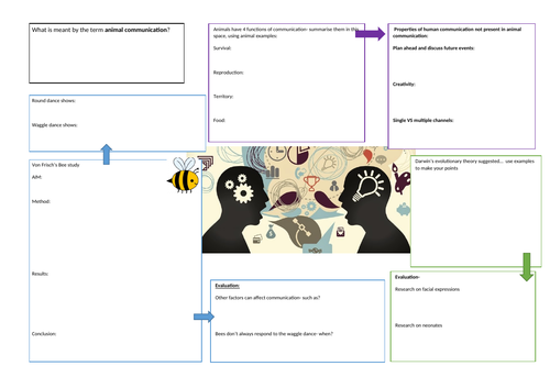 AQA GCSE Psychology- Language, thought and communication- A3 revision sheets