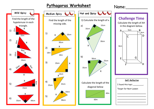 Pythagoras Differentiated Worksheet with Answers
