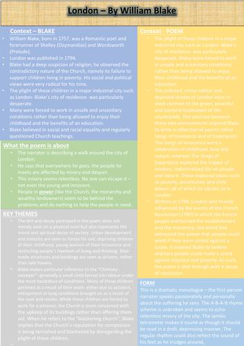London Revision Sheet
