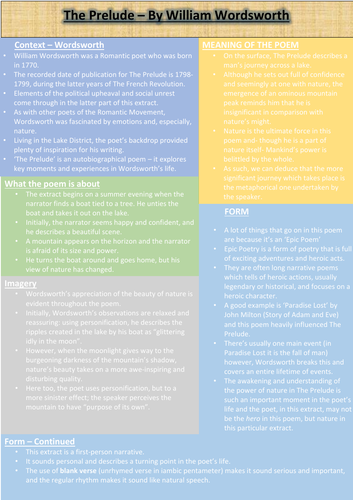 the prelude revision sheet