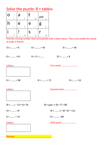 8s table puzzle, primary level
