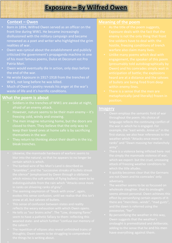 Exposure Revision Sheet