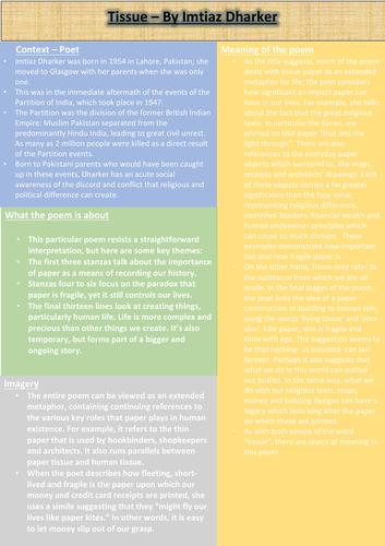 Tissue Revision Sheet