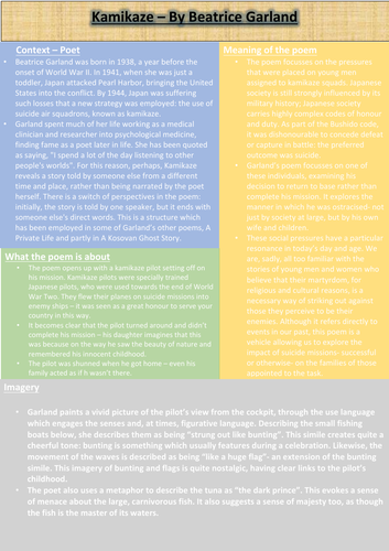 Kamikaze Revision Sheet